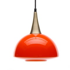 Orange Glass Pendant by Holmegaard, 1970s Scandinavian Blown Glass Hanging Lamp