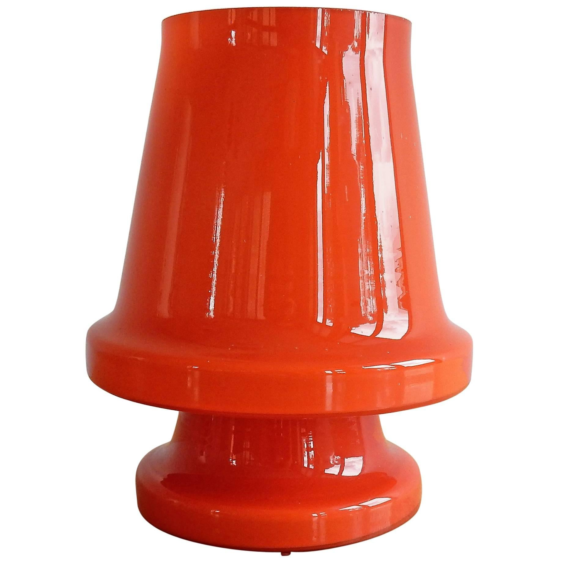 Orange Glass Table Lamp for Flygsfors, Sweden 1970s