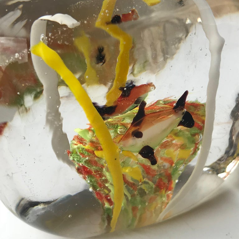Mid-Century Modern Orange Gold Fish Italian Art Glass Aquarium Block Sculpture, Cenedese Murano For Sale