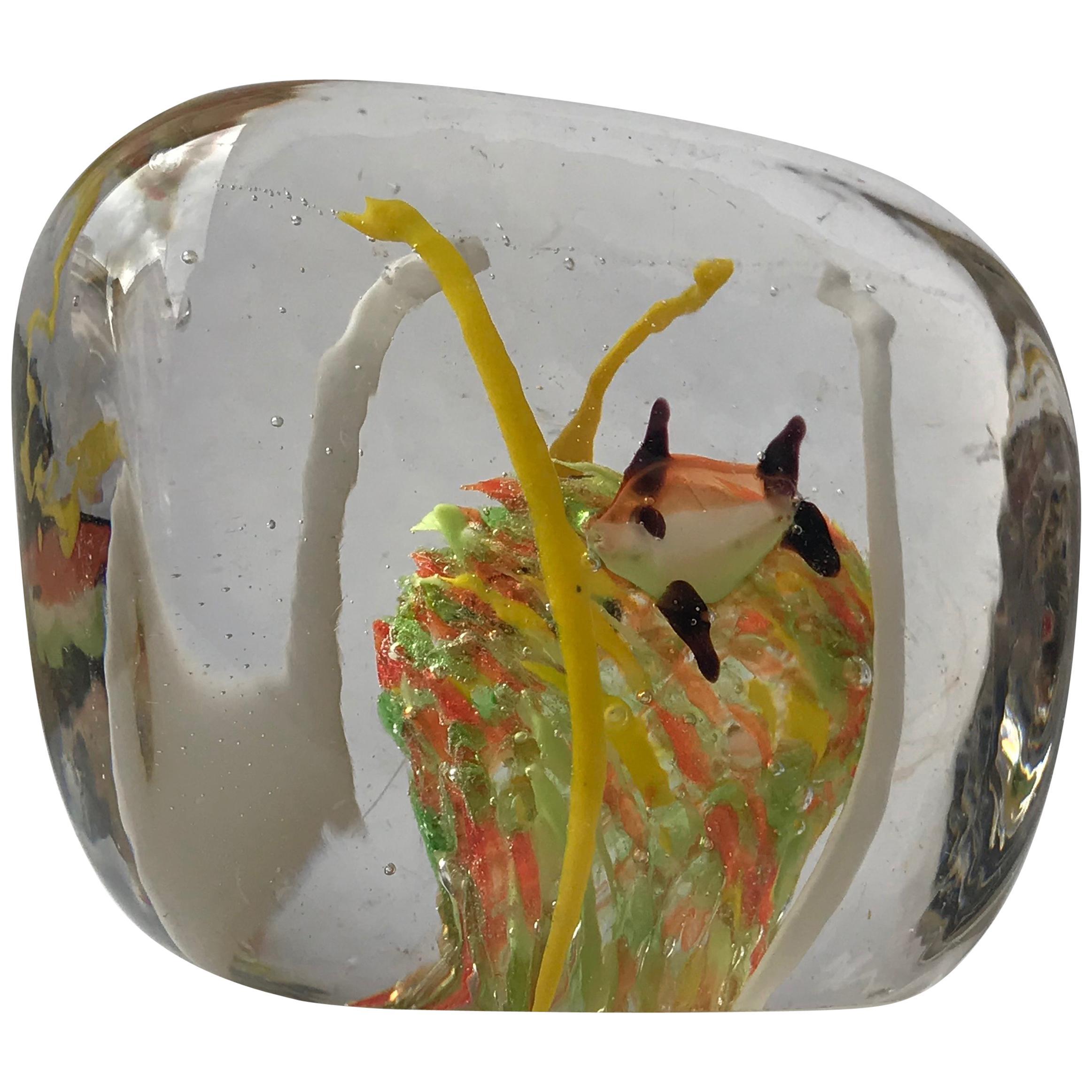 Orange Gold Fish Italian Art Glass Aquarium Block Sculpture, Cenedese Murano