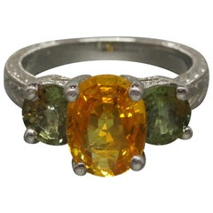 Orange and Green Sapphire Three-Stone Ring