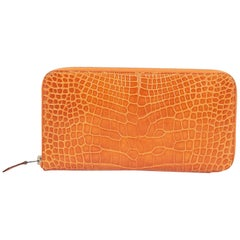 Orange Hermes Alligator Wallet
