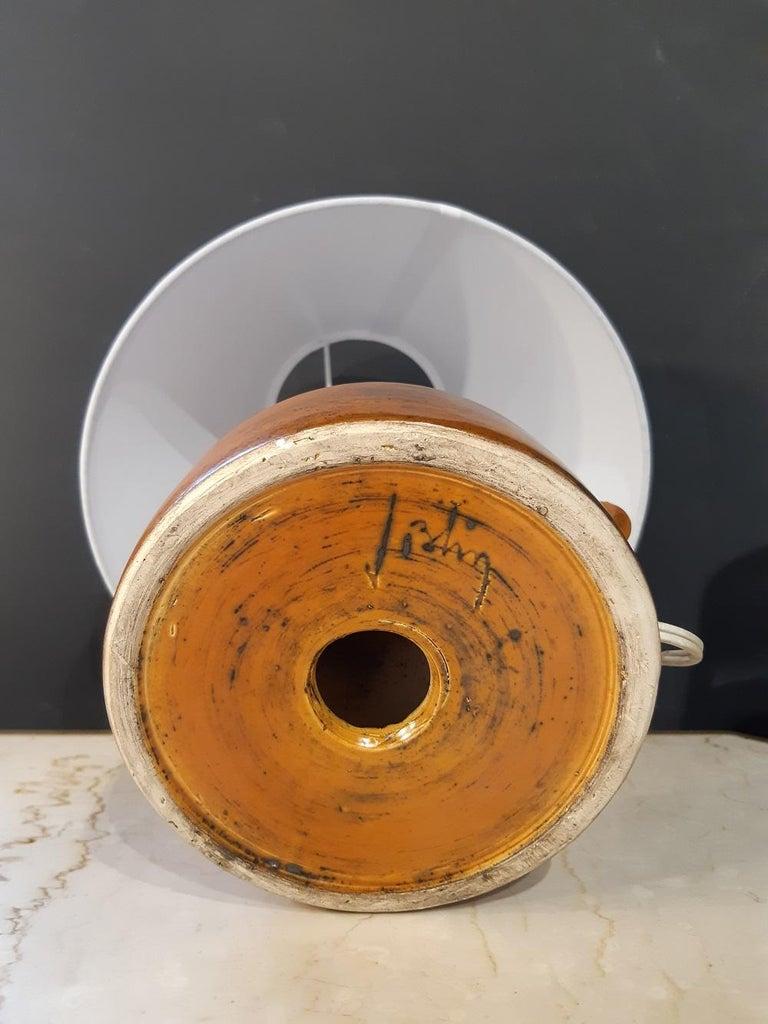 French Orange Jacques Blin Ceramic Lamp France Midcentury, 1950 For Sale