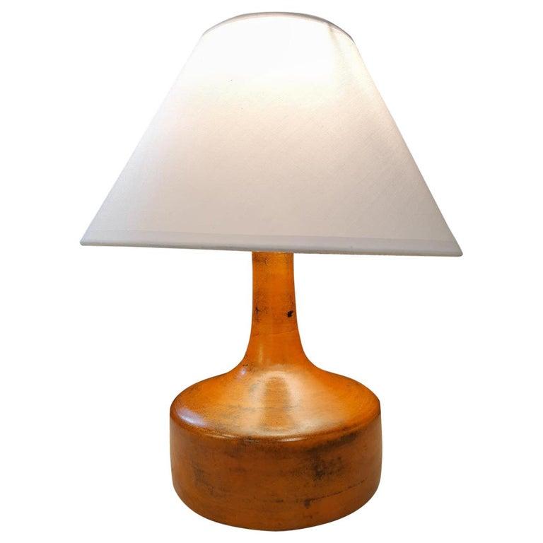 Orange Jacques Blin Ceramic Lamp France Midcentury, 1950 For Sale