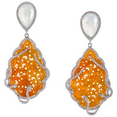 Orange Carved Jade and Diamond Drop Earrings in White Gold