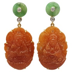 Orange Jade, Green Jade and Diamond Earrings Set in 18 Karat Gold Settings