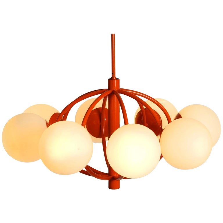 """Orange """"Kaiser"""" Metal Ceiling Lamp with Eight Opal Glass Balls Space Age Atomic For Sale"""