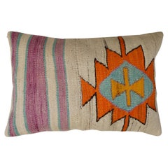 Orange Kilim Medallion Turkish Pillow