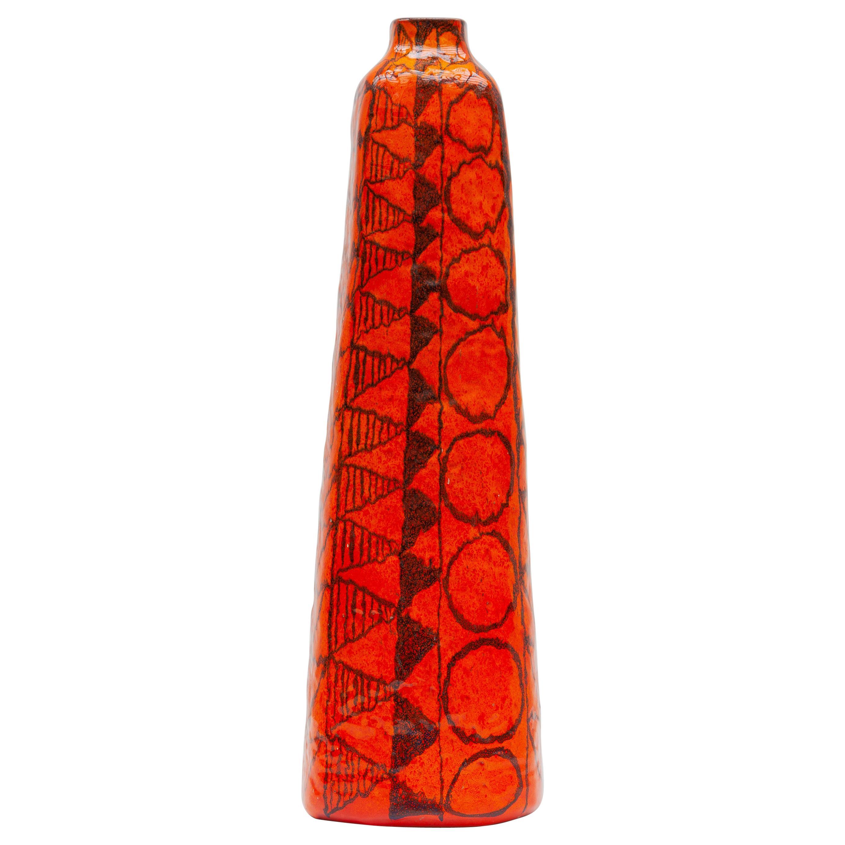 Orange Large Floor Vase Designed by Torviscosa, Italy, 1960