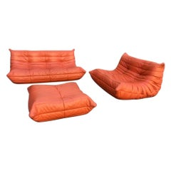 "Orange Leather ""Togo"" Sofa Set by Ligne Roset, France, circa 1972"