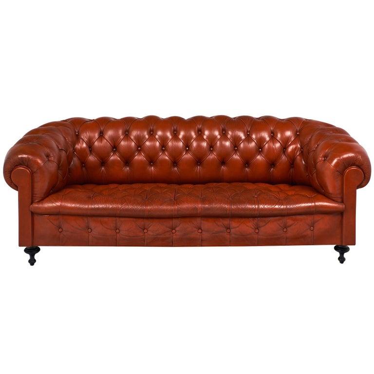 Orange Leather Vintage Chesterfield Sofa