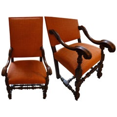 Italian Orange Linen, Walnut Frame Pair of High Back Armchairs, 18th Century