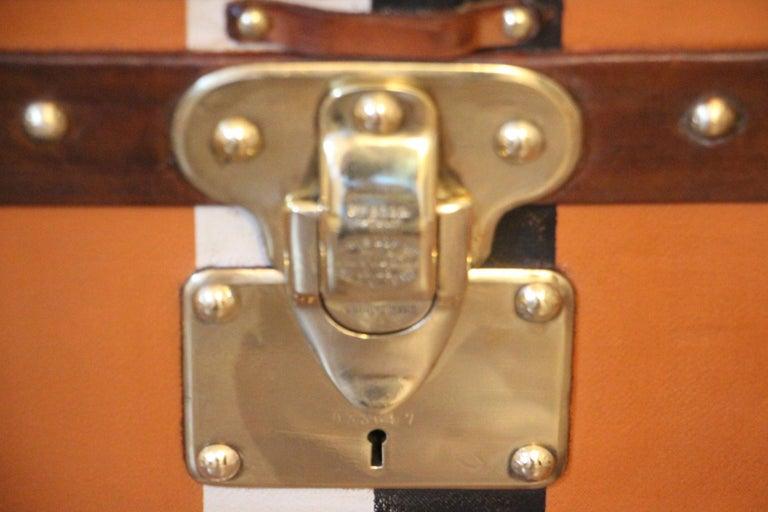 Orange Louis Vuitton Steamer Trunk, Orange Louis Vuitton Trunk, Vuitton Trunk In Good Condition For Sale In Saint-Ouen, FR