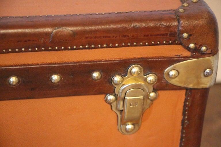 Early 20th Century Orange Louis Vuitton Steamer Trunk, Orange Louis Vuitton Trunk, Vuitton Trunk For Sale