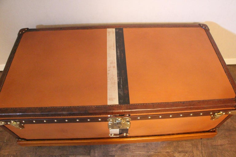 Brass Orange Louis Vuitton Steamer Trunk, Orange Louis Vuitton Trunk, Vuitton Trunk For Sale