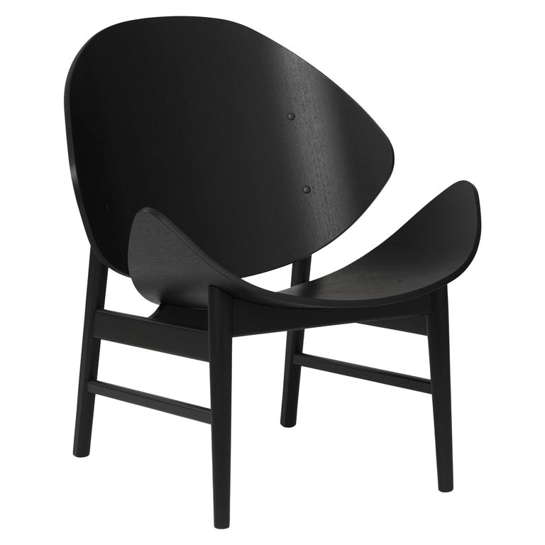 For Sale: Black (Black Stained Oak) Orange Lounge Chair in Pure Wood, by Hans Olsen from Warm Nordic