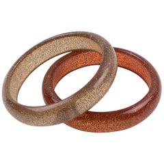 Orange Lucite Bracelet Bangle with Metallic Confetti Inclusions, a pair