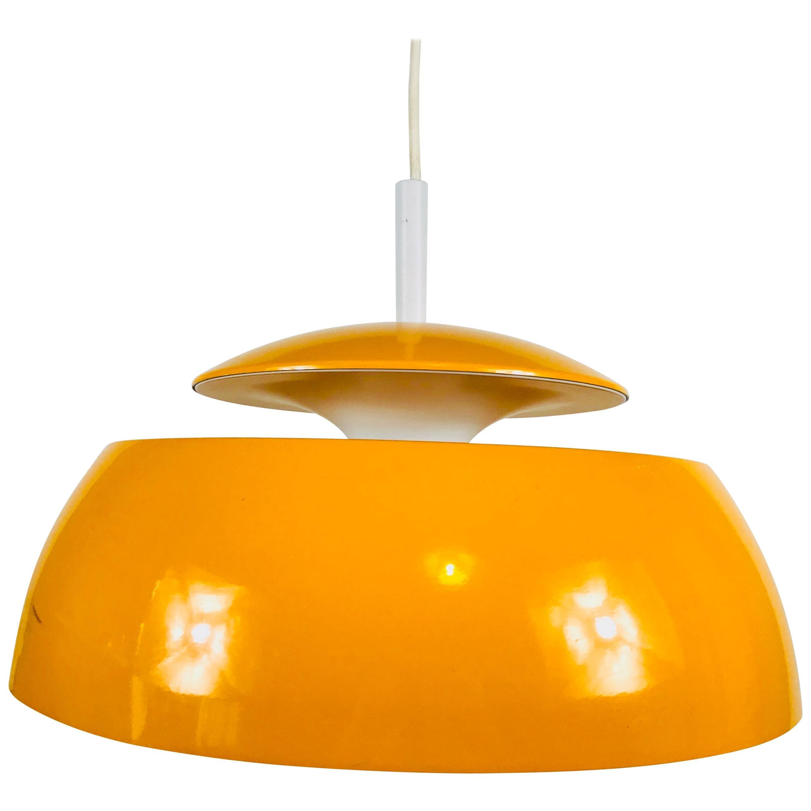 Orange Metal Pendant Lamp by Temde, 1970s