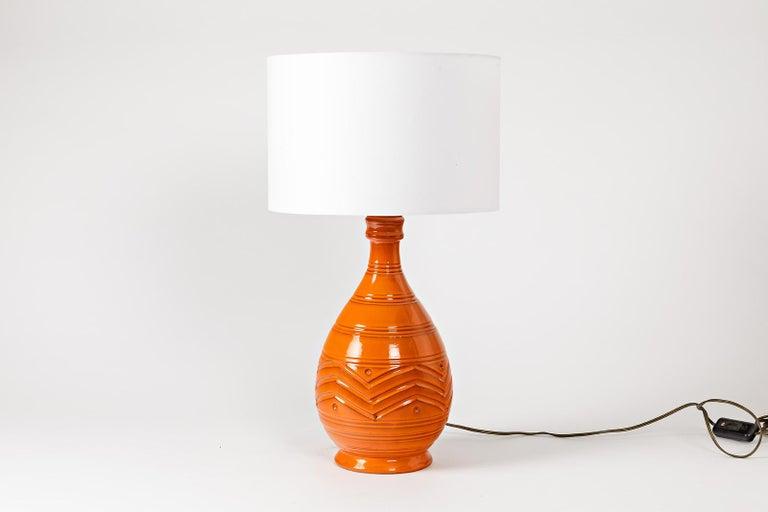 Italian Orange Midcentury Ceramic Table Lamp Shinny Color, circa 1960  For Sale