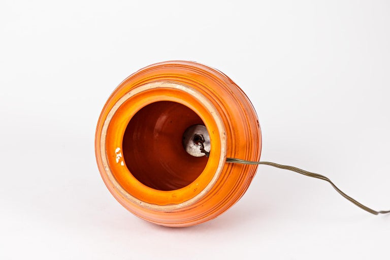Orange Midcentury Ceramic Table Lamp Shinny Color, circa 1960  For Sale 1