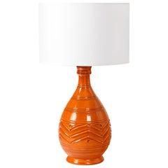 Orange Midcentury Ceramic Table Lamp Shinny Color, circa 1960