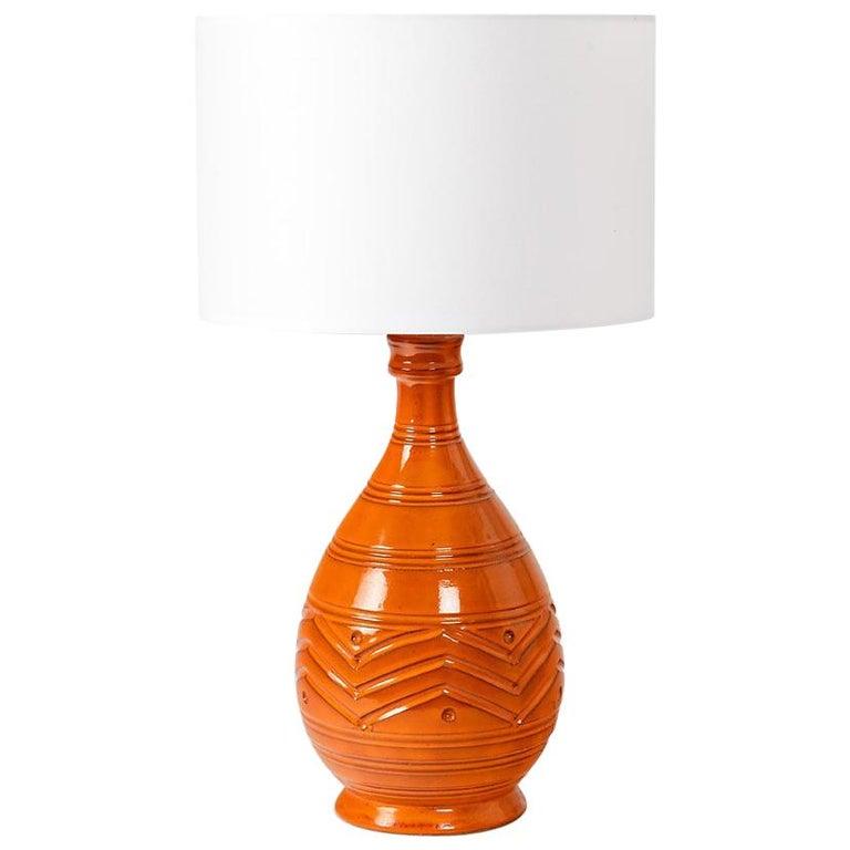 Orange Midcentury Ceramic Table Lamp Shinny Color, circa 1960  For Sale