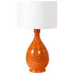 Orange Midcentury Ceramic Table Lamp Shinny Color, circa 1960