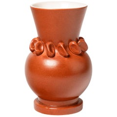 Orange Midcentury Ceramic Vase by Pol Chambost French Design, 1950