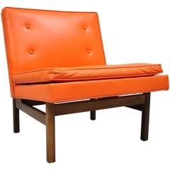 Orange Milo Baughman for Thayer Coggin Teak and Vinyl Slipper Lounge Chair