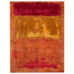 Orange Modern Abstract Handmade Wool and Silk Rug