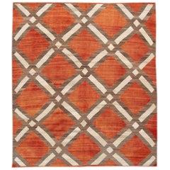 Orange Modern Flat-Weave Kilim Handmade Wool Rug