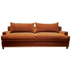 Orange Mohair George Sofa by Brian Paquette for Lawson-Fenning