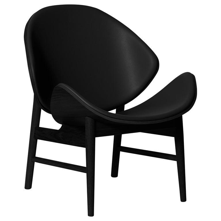 For Sale: Black (Challenger Black) Orange Monochrome Lounge Chair in Black Oak with Upholstery, by Hans Olsen