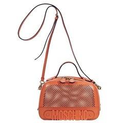 Orange Moschino Perforated Leather Crossbody Bag
