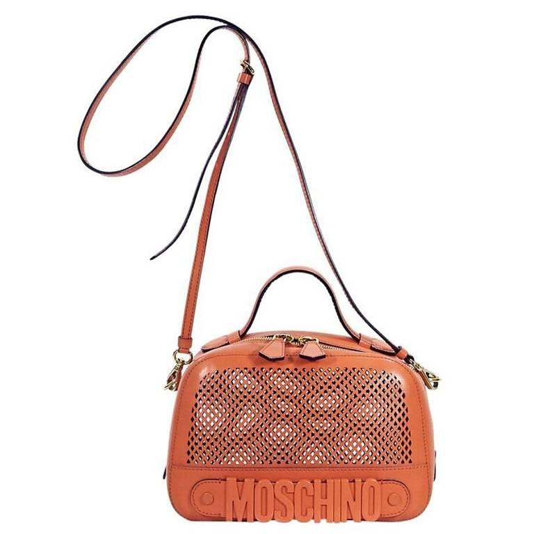 Orange Moschino Perforated Leather Crossbody Bag