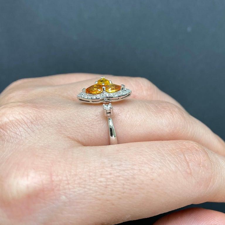 Contemporary Orange Multi-Color Sapphire and Diamond Toi et Moi Clover Ring For Sale