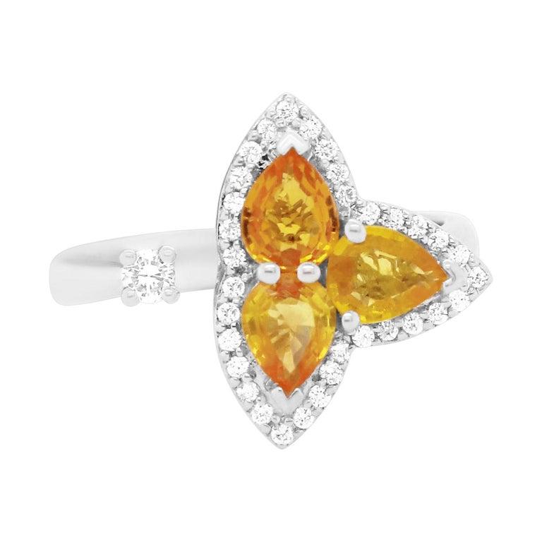 Orange Multi-Color Sapphire and Diamond Toi et Moi Clover Ring For Sale