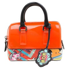 Orange/Multicolor Rubber and Printed Leather Mini Candy Cookie Graffiti Satchel