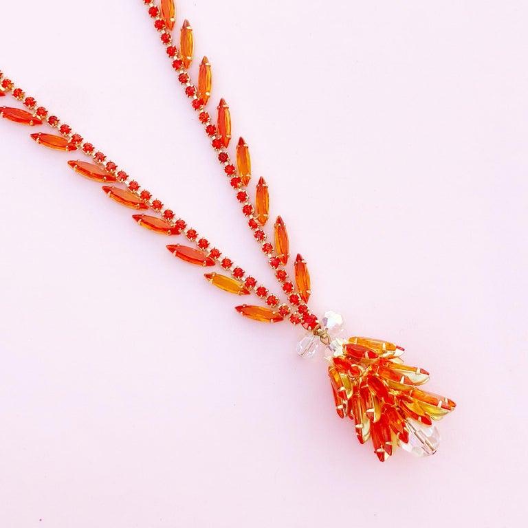 Modern Orange Navette Crystal Juliana Cluster Necklace by DeLizza & Elster (D&E), 1960s For Sale
