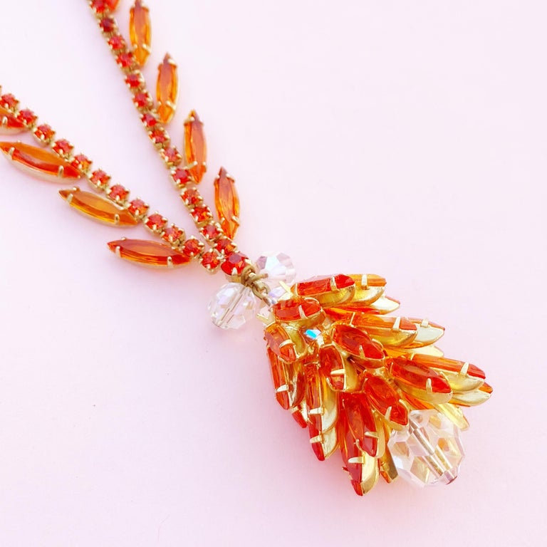 Orange Navette Crystal Juliana Cluster Necklace by DeLizza & Elster (D&E), 1960s In Good Condition For Sale In Los Angeles, CA