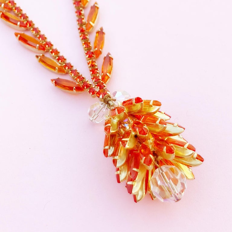 Women's Orange Navette Crystal Juliana Cluster Necklace by DeLizza & Elster (D&E), 1960s For Sale