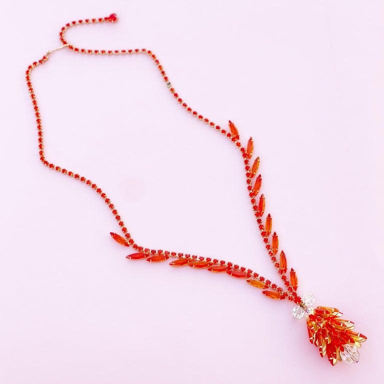 Orange Navette Crystal Juliana Cluster Necklace by DeLizza & Elster (D&E), 1960s For Sale 2
