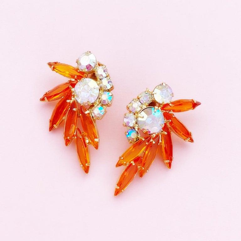 Modern Orange Navette Rhinestone Juliana Climber Earrings by DeLizza & Elster, 1960s For Sale