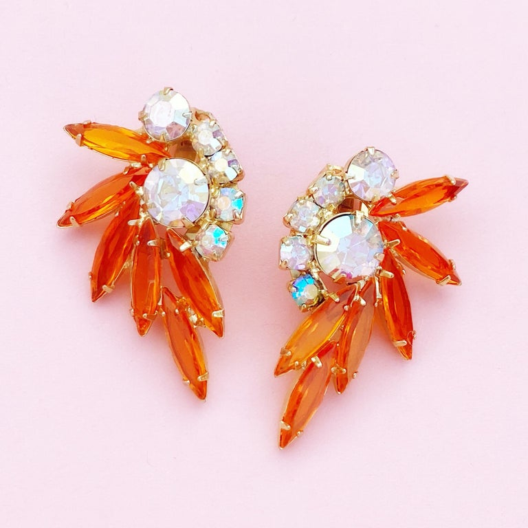 Orange Navette Rhinestone Juliana Climber Earrings by DeLizza & Elster, 1960s In Excellent Condition For Sale In Los Angeles, CA