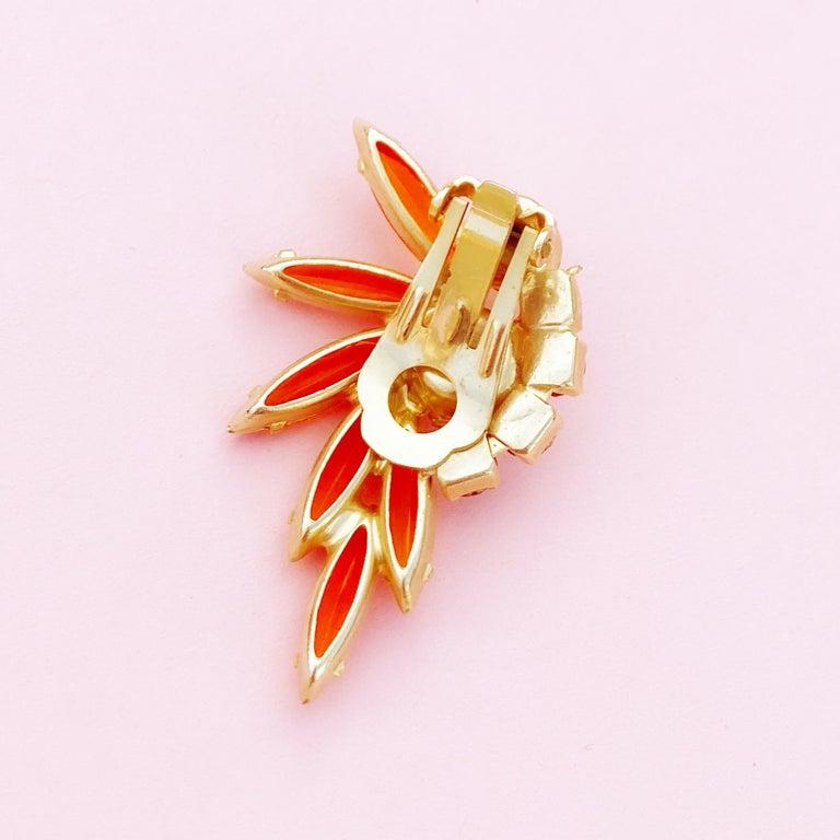 Orange Navette Rhinestone Juliana Climber Earrings by DeLizza & Elster, 1960s For Sale 2