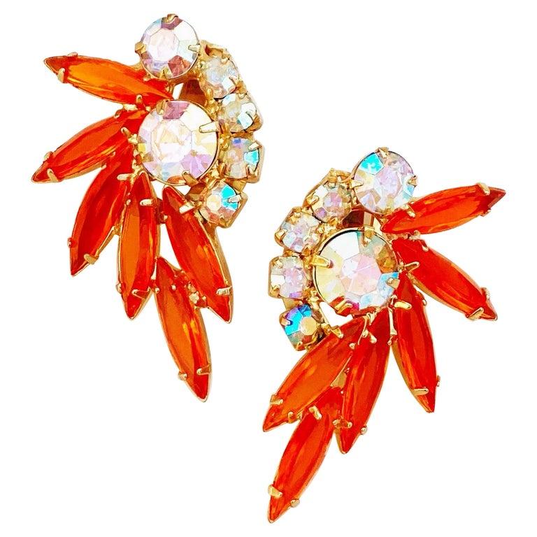 Orange Navette Rhinestone Juliana Climber Earrings by DeLizza & Elster, 1960s For Sale