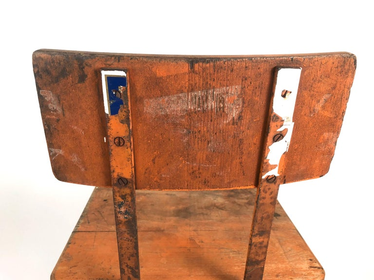 Orange Painted Wood and Metal Industrial Factory Stool, circa 1920s For Sale 4