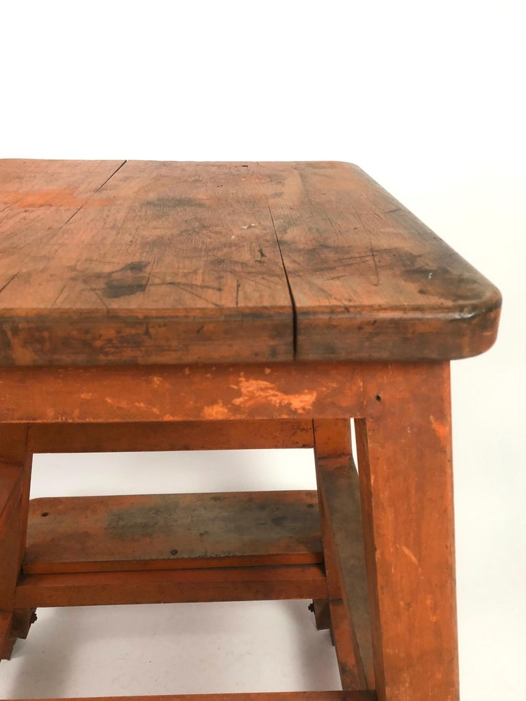 Orange Painted Wood and Metal Industrial Factory Stool, circa 1920s For Sale 5