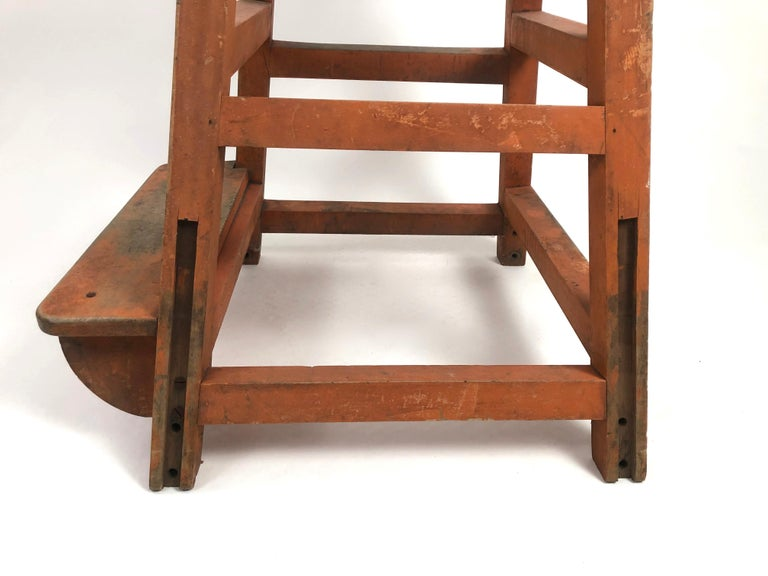 Orange Painted Wood and Metal Industrial Factory Stool, circa 1920s For Sale 6