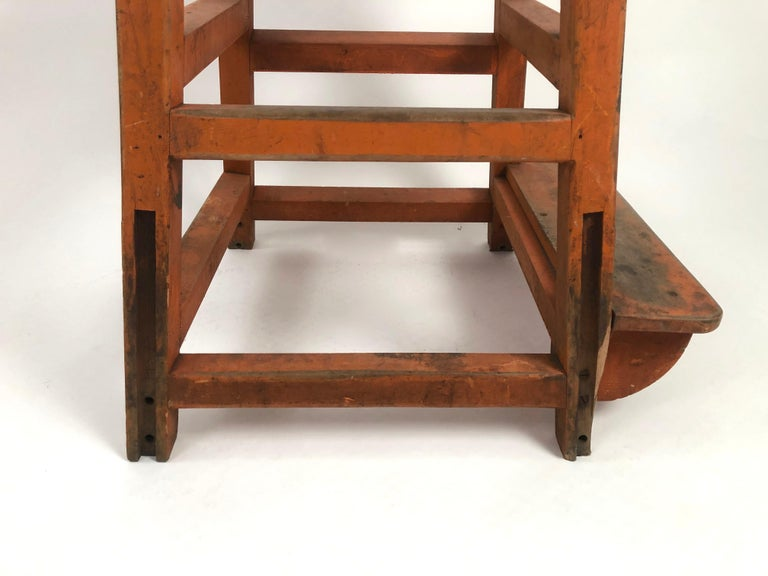 Orange Painted Wood and Metal Industrial Factory Stool, circa 1920s For Sale 7
